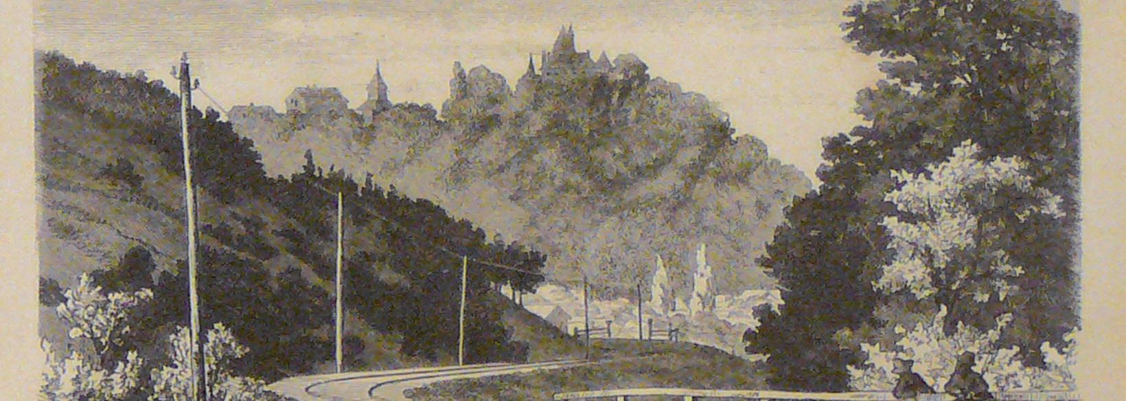Tösstalbahn mit Kyburg im Hintergrund